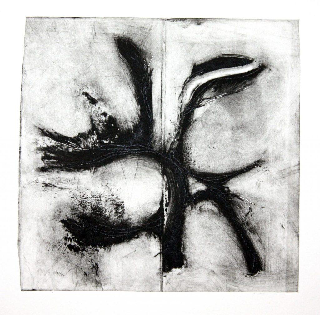 Monotype à l'encre non figuratif par Dominique Ribes, série S.Sl