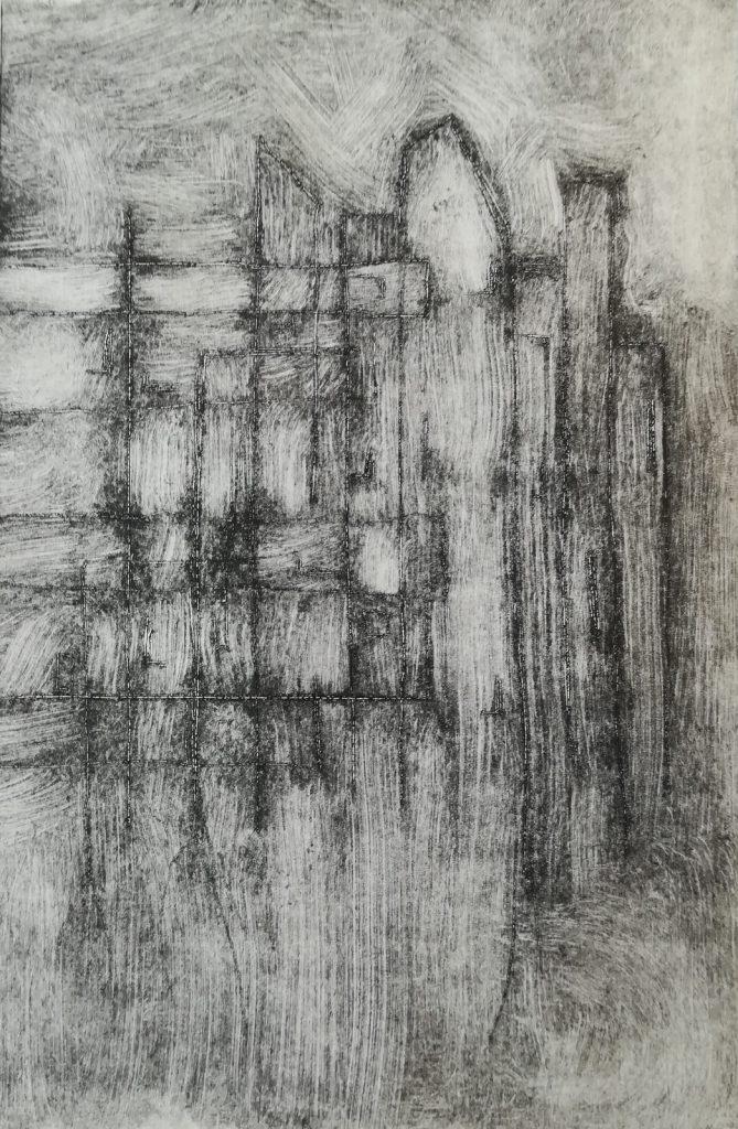Monotype à l'encre par Dominique Ribes, série Urbi