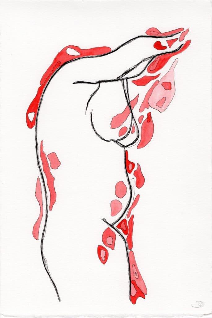 Dessin à l'encre et aquarelle par Dominique Ribes, série C.Tg