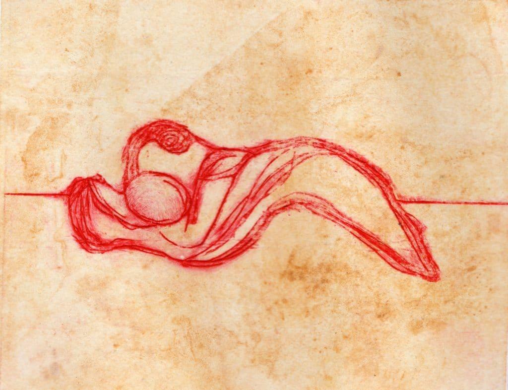 Monotype à l'encre par Dominique Ribes, série C.Mg.